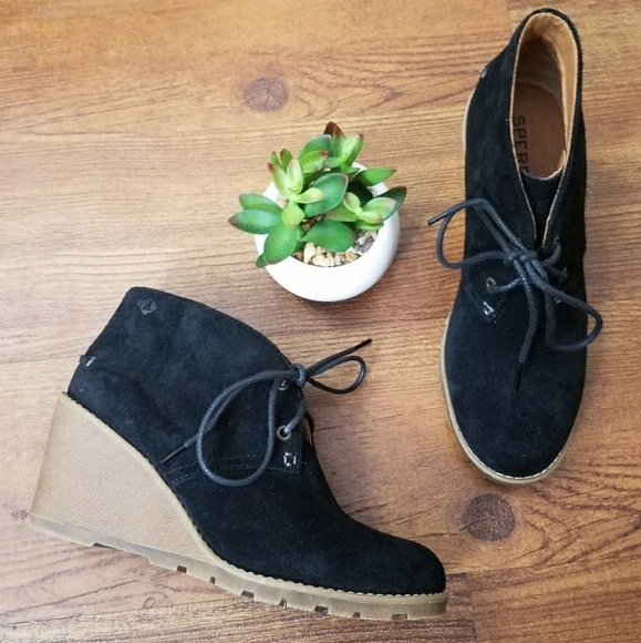 Sperry Shoes - Sperry black suede Stella prow wedge booties